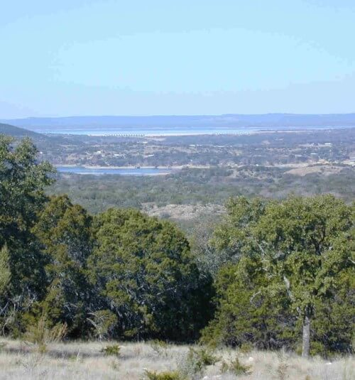 View of hills in Burnet County, Texas