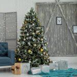 Christmas tree inside new home living room